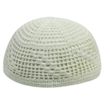 Extra Stretchable Large White Kufi One Size Diamond Knit Crochet Skull Cap