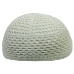 Super Stretchable Large White Crochet Kufi One Size Diamond Knit Skull Cap