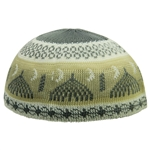 Cool Gray and Tan Minaret Design Large Soft Cotton Kufi Skull Cap