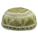 Light Brown and Tan Minaret Design Large Soft Cotton Kufi Skull Cap