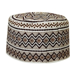 White with Brown Embroidery Omani Style Tall Hard Kufi Hat Skull Cap