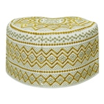 White with Gold Embroidery Omani Style Tall Hard Kufi Hat Skull Cap