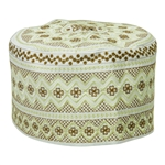White with Tan Embroidery Omani Style Tall Hard Kufi Hat Skull Cap