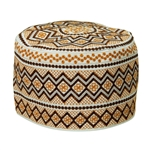 White with Orange Embroidery Omani Style Tall Hard Kufi Hat Skull Cap