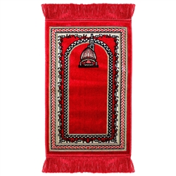Red Kids Prayer Rug With White Border Red Tassles