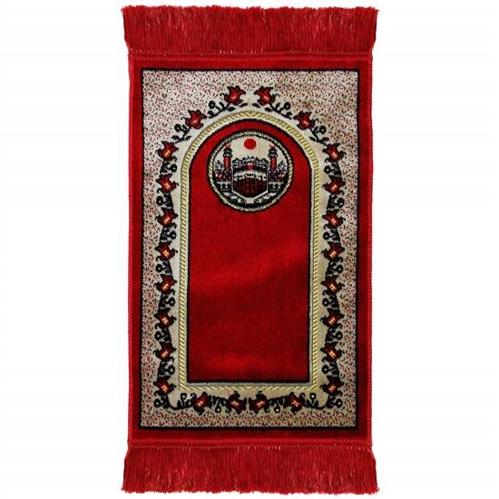 Kids Red and White Border Prayer Rug with Kaaba