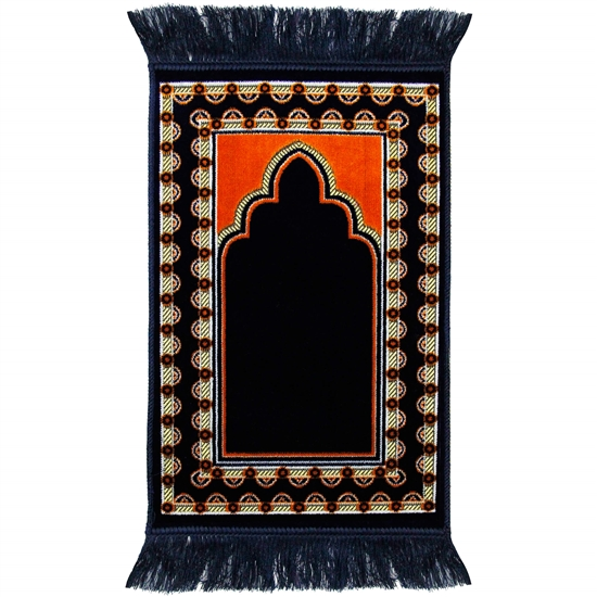 Kids Blue Archway & Border Prayer Rug with Tassles