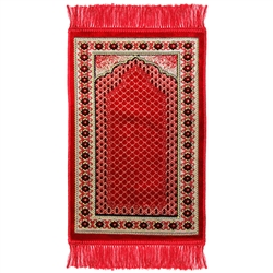 Kids Red Mesh Archway Floral Design Prayer Rug