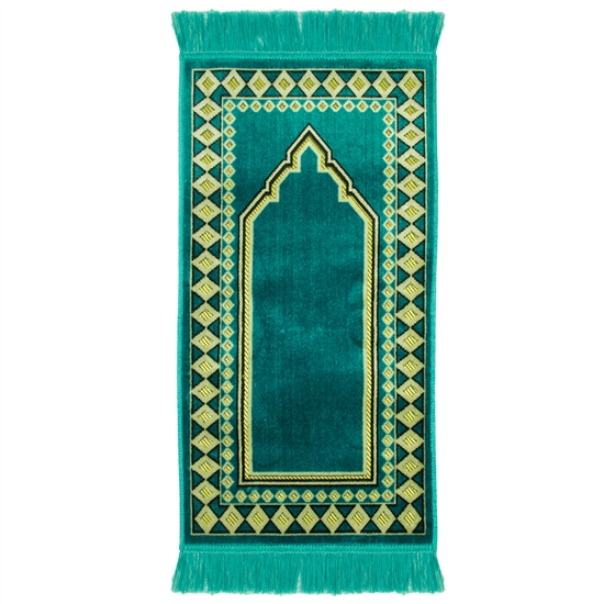 Turquoise Diamond Archway Kids Prayer Rug Mat For Children Sajada Junior