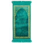 Turquoise Chandelier Archway Kids Prayer Rug Mat for Children Sajada Junior
