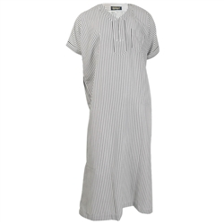 White with Black Stripes Deep V-Neck Lounge Half Sleeve Jalabia Thobe