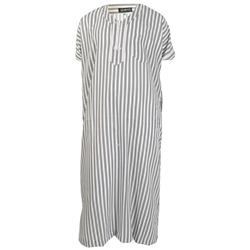 Black Stripes in White V-Neck Half Sleeve Jalabia