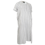 White Half Sleeve Thobes Gray and Black Pinstripe