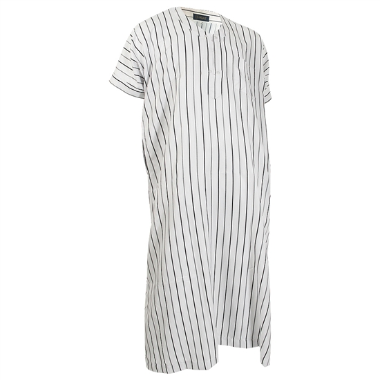 White Short Sleeve Thobes Gray and Black Pinstripe