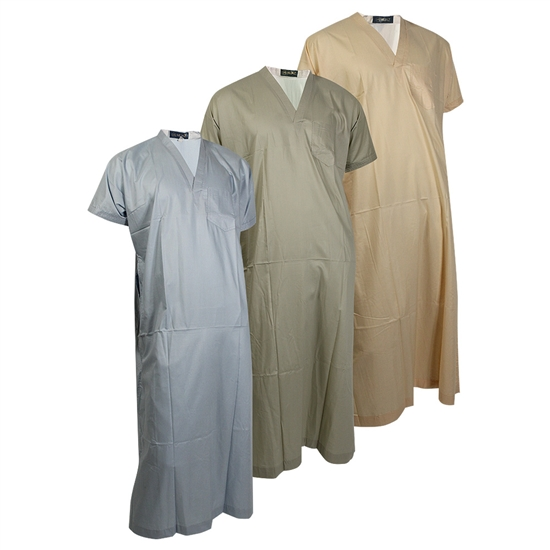 Plain Short Sleeve V-Neck Lounge Thobes