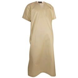 Cream V-Neck Short Sleeve Casual Cotton Men's Thobe Arab Robe Dishdasha