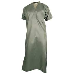 Gray V-Neck Short Sleeve Casual Cotton Men's Thobe Arab Robe Dishdasha