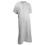 Silky White Horizontal Stripe Casual Short Sleeve Men's Thobe with Pockets