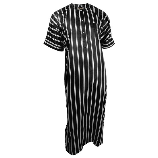 Silky Black Double Stripe Casual Short Sleeve Men's Thobe with Pockets