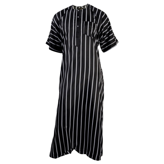 Silky Black Bold Stripe Casual Short Sleeve Men's Thobe Arab Robe