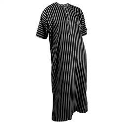 Silky Black Single Stripe Casual Short Sleeve Men's Thobe Arab Robe