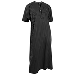 Silky Black Horizontal Stripe Casual Short Sleeve Men's Thobe Arab Robe