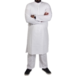 Plain White Long Sleeve Kurta Pajama with Matching Relaxed Fit Bottoms