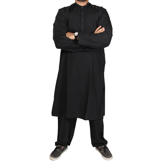 Plain Black Long Sleeve Kurta Pajama with Matching Relaxed Fit Bottoms