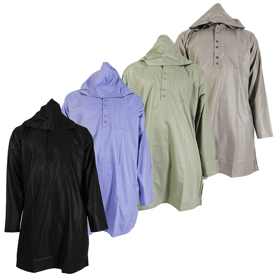 Plain Hooded Long Sleeve Casual Kurta Shirt