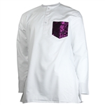 White Purple Kurta Reflective Floral Pocket