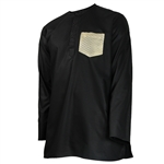 Black Collarless Kurta Reflective Stich Pocket