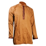 Hijaz Tan Brocade Accented Mens Short Cotton Kurta