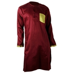 Men's long Casual Cotton Kurta with Brocade Pocket
