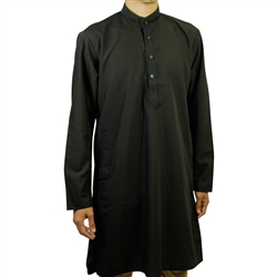 Hijaz Men's Embroidered Plain Black Kurta Top Wrinkle Free Cotton Long Tunic