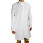 Hijaz Men's Embroidered Plain White Kurta Top Wrinkle Free Cotton Long Tunic