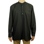 Hijaz Men's Embroidered Plain Black Kurta Top Wrinkle Free Cotton Short Tunic