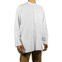 Hijaz Men's Embroidered Plain White Kurta Top Wrinkle Free Cotton Short Tunic