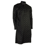 Hijaz Men's Black Clover Leaf Pattern Kurta with Mandarin Collar and Pockets