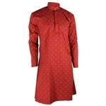Hijaz Men's Red Clover Leaf Pattern Kurta with Mandarin Collar and Pockets