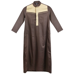 Brown Long Sleeve Casual Thobe with Tan Chest