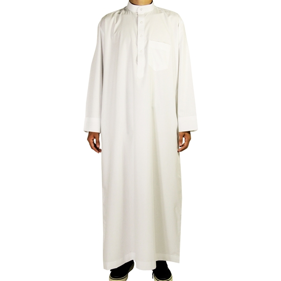 Hijaz White Relax Loose Fit Long Sleeve Men's Formal Thobe Cotton Arab Robe