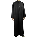 Hijaz Black Relax Loose Fit Long Sleeve Men's Formal Thobe Cotton Arab Robe