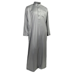 Hijaz Gray Formal Fitted Men's Thobe Polished Cotton Luxury Arab Robe