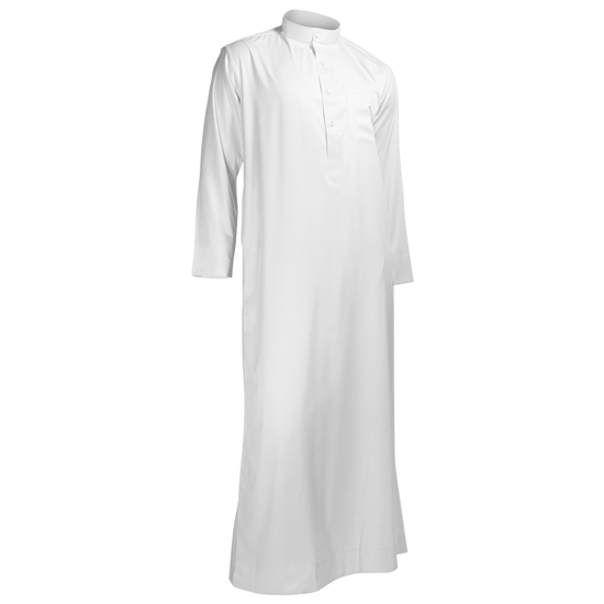 Hijaz White Formal Fitted Men's Thobe Polished Cotton Luxury Arab Robe