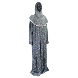 One Size Blue Floral Women's Loose Prayer Clothes Abaya Gown With Hijab