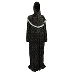 One Size Black Fan Floral Women's Loose Prayer Clothes Abaya Gown With Hijab