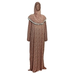 One Size Pink Floral Women's Loose Prayer Clothes Abaya Gown With Hijab