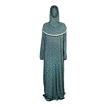 One Size Sky Blue Floral Women's Prayer Clothes Garment Abaya Gown With Hijab