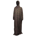 One Size Black Floral Women's Loose Prayer Clothes Abaya Gown With Head Wrap Hijab
