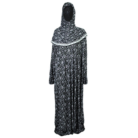 One Size Black White Women's Loose Prayer Clothes Abaya Gown With Slip On Hijab